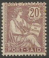 Port Said - 1902 Mouchon 20c MH *   Mi 25  Sc 25 - Unused Stamps