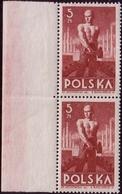 1947 Poland Mi 472, Block Of Pair, Worker. Leftt Margin Pair, W169 MNH** - Jobs