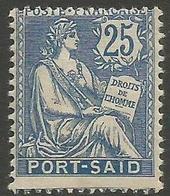 Port Said - 1902 Mouchon 25c MH *   Mi 26  Sc 26 - Port Said (1899-1931)