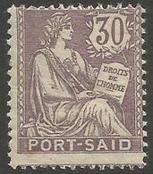 Port Said - 1902 Mouchon 30c MH *   Mi 27  Sc 27 - Unused Stamps