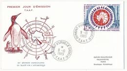 TAAF - Enveloppe FDC - 15,70 XVe Réunion Consultative Traité Antarctique - Dumont D'Urville T. Adélie - 9-10-1989 - FDC