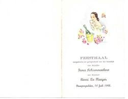 Menu Voor Huwelijk 14 Juli 1948 Prosperpolder Beveren Met Goudkleurig Schrift - Menus