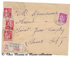 SAINT ST JEAN D ANGELY ST HILAIRE DE VILLEFRANCHE 1939 - RECOMMANDEE N° 389 - 2F50 - CHARENTE MARITIME - SUR ENVELOPPE - Marcophilie (Lettres)