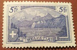 Schweiz Suisse 1914: Rütli 5fr (K.Burkhard) Zu 130 Mi 122x Yv 143 ** MNK Stockfleckig Tâches Au Verso (Zu CHF 130.00 ?) - Schweiz