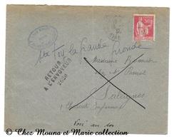 BONNIER SALEIGNES 1933 - RETOUR A L ENVOYEUR N° 2620 - 50C - CHARENTE MARITIME - SUR ENVELOPPE - Marcophilie (Lettres)