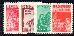 223 - 490 - ALBANIA 1959 ,   Yvert N. 511/514  ***  Gomma Difettosa - Albania