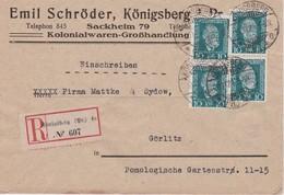 ALLEMAGNE 1924 LETTRE RECOMMANDEE DE KÖNIGSBERG AVEC CACHET ARRIVE GÖRLITZ - Storia Postale