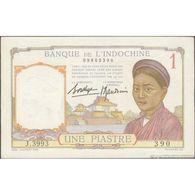 TWN - FRENCH INDO-CHINA 54b - 1 Piastre 1932-49 J.3993 390 - Signatures: De La Chaume & Baudouin XF+ - Indochina
