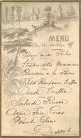 MENUS Menu 1899 Village Dans Paysage  2scans - Menus