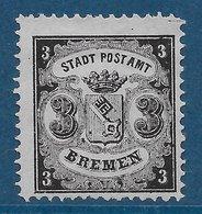 Brême N°11 3g Noir Sur Azuré 1866-67 (faux) (*) - Brême