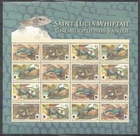 W351 SAINT LUCIA WWF FAUNA REPTILES WHIPTAIL !!! MICHEL 44 EURO !!! 1SH MNH - W.W.F.