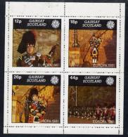 11288 (Militaria) Gairsay 1981 EUROPA (Scottish Pipers) Perf  Set Of 4 Values (12p To 44p) Unmounted Mint - Militaria
