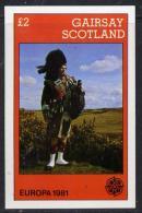 11291 (Militaria) Gairsay 1981 EUROPA (Scottish Piper) Imperf Deluxe Sheet (2 Value) Unmounted Mint - Militaria