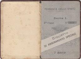 9016-TESSERA-FERROVIE DELLO STATO-BIGLIETTO DI ABBONAMENTO SPECIALE-1905-1906 - Europe