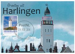 D33887 CARTE MAXIMUM CARD 2014 NETHERLANDS - HARLINGEN PHARE VUURTOREN LIGHTHOUSE CP ORIGINAL - Lighthouses