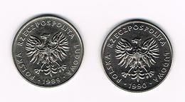 POLEN  2 X 20 ZLOTYCH  1989/90 - Pologne