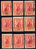 1908 AUSTRIA 2 PIA. LEVANT 9x Stamps MICHEL: L58 USED - Oriente Austriaco