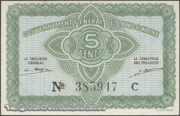 TWN - FRENCH INDO-CHINA 88a - 5 Cents 1942 Serial # Format 123456X - Suffix C - Signatures: Mayet & Cousin AXF - Indocina