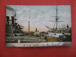 Battleship In Dry Dock At League Island Navy Yard Philadelphia PA.  ---- Ref 2962 - Warships
