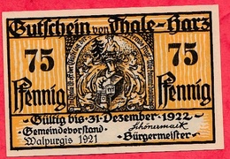 Allemagne 1 Notgeld  75 Pfenning  Thale A Harz Dans L 'état   Lot N °1437 - [ 3] 1918-1933 : Weimar Republic