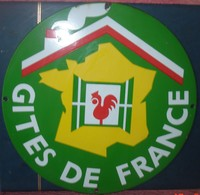 Plaque Emailleé Ronde (35 Cms De Diametre)GITES DE FRANCE - Reclameplaten