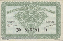 TWN - FRENCH INDO-CHINA 88a - 5 Cents 1942 Serial # Format 123456X - Suffix H XF+ - Indocina