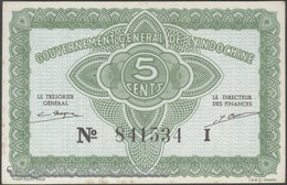 TWN - FRENCH INDO-CHINA 88a - 5 Cents 1942 Serial # Format 123456X - Suffix I XF+ - Indocina