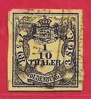 Oldenbourg N°4 1 Sur 10t Jaune (faux) 1852-55 O - Oldenburg