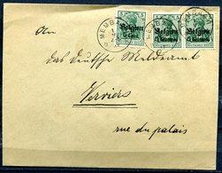 """German Empires,Deutsche Besetzung Belgien1917 Bedarfsbrief/Cover Mit Mi.Nr.2+12 Und TSt""""Membach """"1 Beleg - Weltkrieg 1914-18"""
