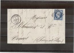 CP27 - Lettre De ANGERS - Petits Chiffres 78 Du 7 MARS 57 - - 1862 Napoléon III