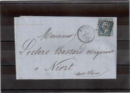 CP27 - Lettre De NANTES Pour NIORT - Petit Chiffre 2221 Du 5 JANV 61- - 1862 Napoléon III