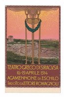 CARTOLINA POSTALE PUBBLICITARIA AGAMENNONE DI ESCHILO TEATRO GRECO SIRACUSA 1914  Illustratore METLICOVITZ - Werbepostkarten