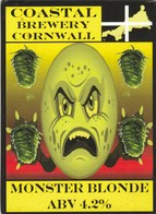 COASTAL BREWERY (REDRUTH, ENGLAND) - MONSTER BLONDE - PUMP CLIP FRONT - Signs