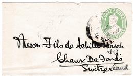 Lettre 1921 Entier Postal Inde India Postage Half Anna La Chaux De Fonds Suisse Switzerland King George V - 1911-35 King George V