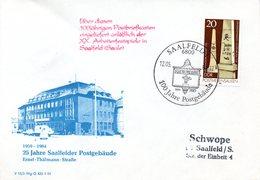 """(DDR-B2) DDR Sonderumschlag """"100 Jahre Saalfelder Postgebäude"""" EF 2854 SSt 12.5.84 SAALFELD - Post"""
