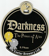 EXETER BREWERY (EXMINSTER, ENGLAND) - DARKNESS THE PRINCE OF ALES - PUMP CLIP FRONT - Signs