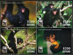 (WWF-522) W.W.F. Guyana Spider Monkey MNH Perf Stamps 2014 - W.W.F.
