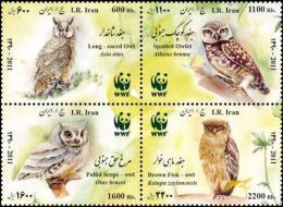 (WWF-494) W.W.F Iran Native Owls Owl Bird MNH Perf Stamps 2011 - W.W.F.