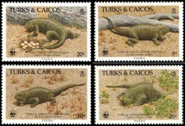 (WWF-042) W.W.F. Turks & Caicos Island Iguana MNH Stamps 1986 - W.W.F.