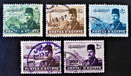 ROYAUME - EFFIGIE DU ROI FAROUK 1947/48 - OBLITERES - YT 256/60 - Egypt