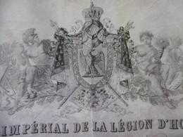 DIPLOME LEGION D HONNEUR OFFICIER 4 REGIMENT HUSSARDS PRIEUR JOSEPH ALEXANDRE 1863 - Documentos