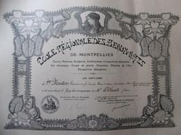 DIPLOME BEAUX ARTS DE MONTPELLIER ALINAT JEAN ILLUSTRE PAR PRADEL ART NOUVEAU 1913 - Diploma & School Reports