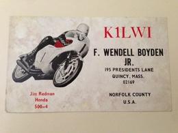 USA  Amateur Radio Station Card  Racing Motorbike Honda 1967 - Estados Unidos