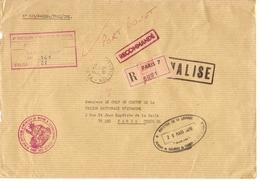 France 1976 - 4ème Bataillon D'Infanterie De Marine - Côte D'ivoire - Lettre Recommandée Paris 7 - Cachet Valise - Postmark Collection (Covers)