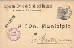 (C).San Vito Al Tagliamento(PN).Cartolina Commerciale Intestata.Annullo Di Treviso (24-a18) - Pordenone