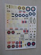 DEC814 N°20 Planche De Décals ESCI Pour Maquettes 1/72  Avions RAF 39/45   SPITFIRE Et TYPHOON , Permets De Réaliser 8 M - Transfer
