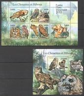 W543 2011 UNION DES COMORES FAUNA BIRDS OWLS LES CHOUETTES ET HIBOUX 1KB+1BL MNH - Adler & Greifvögel