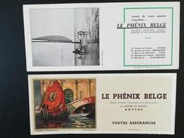 """Vieux Buvards Publicité  De La Société D  Assurances  """"Le Phénix Belge """",  Image Photo  Leo Terwagne . Lot De 2 Buvards. - Publicités"""