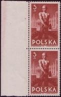 1947 Poland Mi 472, Block Of Pair, Worker. Leftt Margin Pair, W168 MNH** - 1944-.... República
