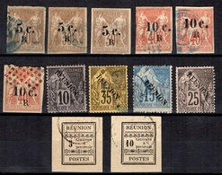 Réunion Douze Timbres Anciens Oblitérés 1885/1891. Bonnes Valeurs. B/TB. A Saisir! - Isola Di Rèunion (1852-1975)